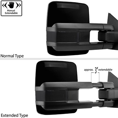 Chevy Silverado 2007-2013 Glossy Black Tow Mirrors Smoked Switchback LED DRL Sequential Signal