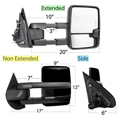 Chevy Tahoe 2007-2014 Glossy Black Tow Mirrors Smoked Switchback LED DRL Sequential Signal
