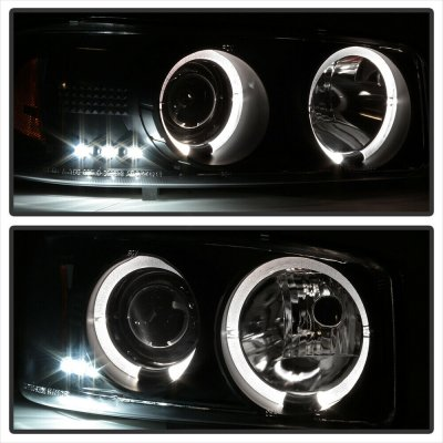 GMC Sierra 1999-2006 Black Dual Halo Projector Headlights with LED