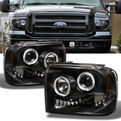 Ford F250 Super Duty 2005-2007 Black Halo Projector Headlights with LED