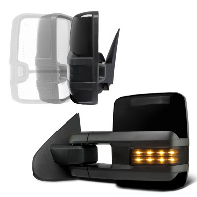 GMC Sierra 2007-2013 Glossy Black Power Folding Tow Mirrors Smoked LED Lights