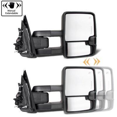 Chevy Silverado 2007-2013 Glossy Black Power Folding Tow Mirrors Smoked LED Lights