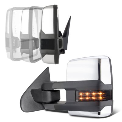 Chevy Silverado 2007-2013 Chrome Power Folding Tow Mirrors Smoked LED Lights