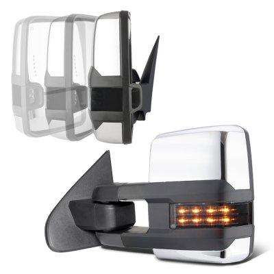 Chevy Silverado 2007-2013 Chrome Power Folding Tow Mirrors Smoked LED Lights