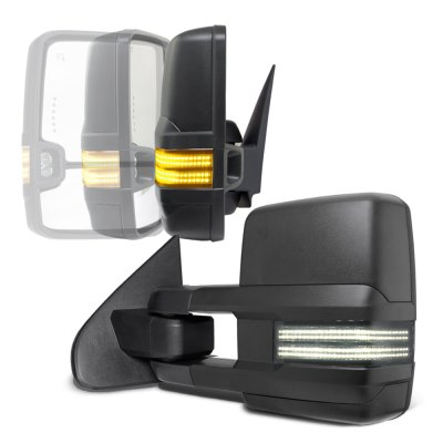 GMC Sierra 2007-2013 Power Folding Tow Mirrors Smoked Switchback LED DRL Sequential Signal