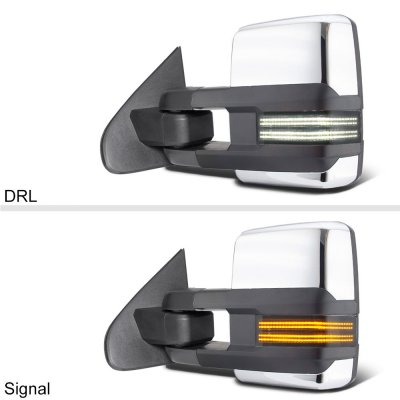 Chevy Silverado 2007-2013 Chrome Power Folding Tow Mirrors Smoked Switchback LED DRL Sequential Signal