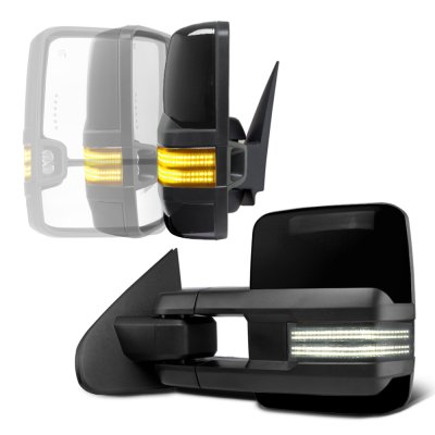 Chevy Silverado 2007-2013 Glossy Black Power Folding Tow Mirrors Smoked Switchback LED DRL Sequential Signal