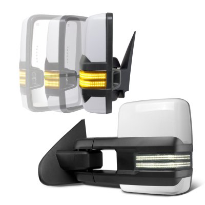 Chevy Silverado 2007-2013 White Power Folding Tow Mirrors Smoked Switchback LED DRL Sequential Signal