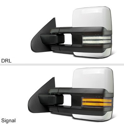 GMC Sierra 2007-2013 White Power Folding Tow Mirrors Smoked Switchback LED DRL Sequential Signal