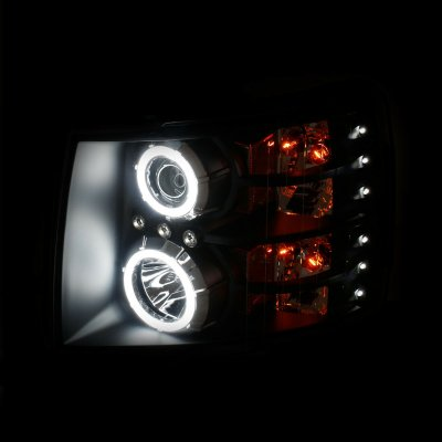 Chevy Silverado 2007-2013 Black Projector Headlights with Halo and LED