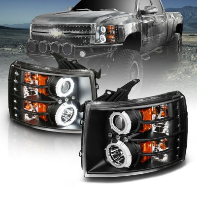 Chevy Silverado 2500HD 2007-2014 Black Projector Headlights with Halo and LED