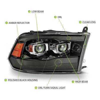 Dodge Ram 2500 2010-2018 New Blackout Projector Headlights LED DRL AlphaRex