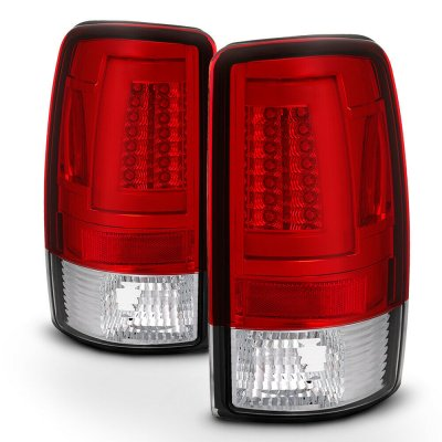 Chevy Suburban 2000-2006 Red and Clear LED Tail Lights Tube