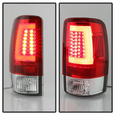 Chevy Tahoe 2000-2006 Red and Clear LED Tail Lights Tube