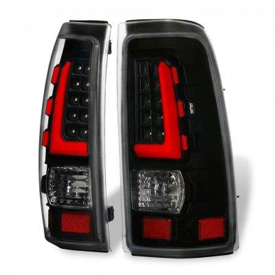 Chevy Silverado 2500 1999-2002 Black LED Tail Lights Red Tube