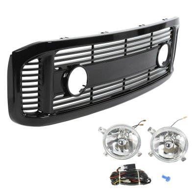 Ford Excursion 1999-2004 Glossy Black Billet Grille and Fog Lights
