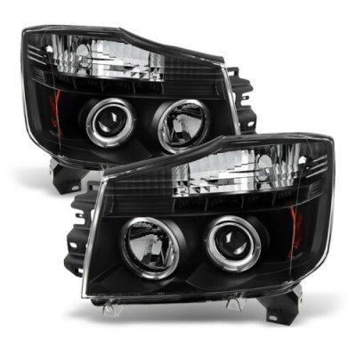 Nissan Titan 2004-2015 Black Halo Projector Headlights