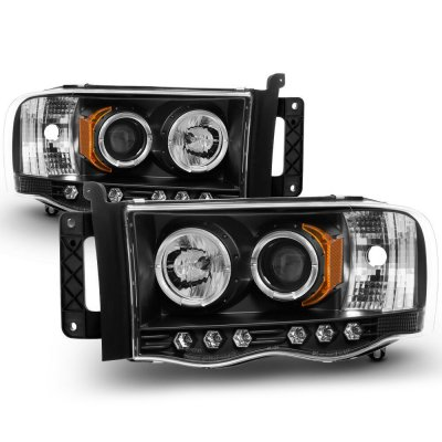 Dodge Ram 2002-2005 Black Halo Projector Headlights with LED