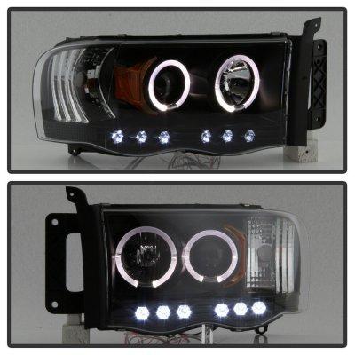 Dodge Ram 2500 2003-2005 Black Halo Projector Headlights with LED