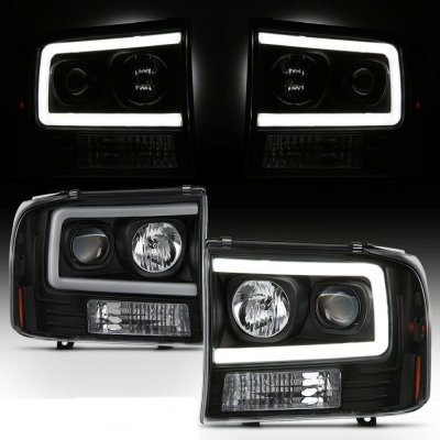 Ford F250 Super Duty 1999-2004 Black Tube DRL Projector Headlights