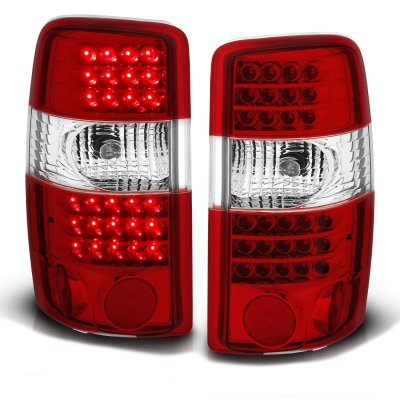 Chevy Suburban 2000-2006 Red and Clear LED Tail Lights