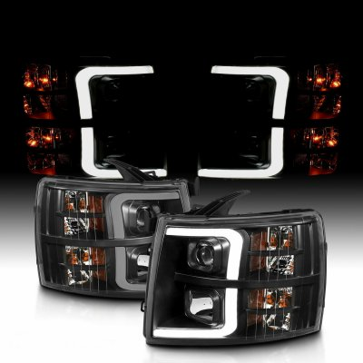 Chevy Silverado 2007-2013 Black LED DRL Projector Headlights Tube