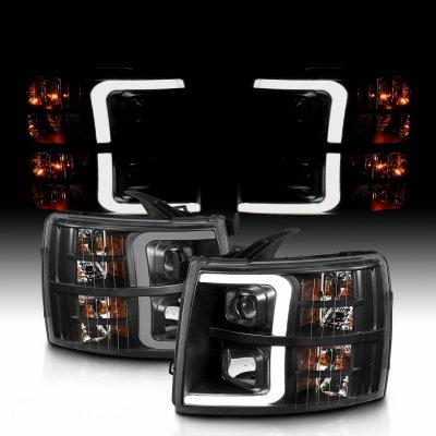 Chevy Silverado 2500HD 2007-2014 Black LED DRL Projector Headlights Tube