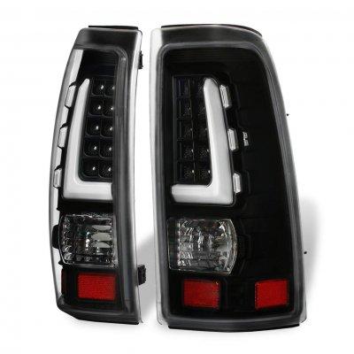 Chevy Silverado 2500HD 2001-2002 Black Tube LED Tail Lights