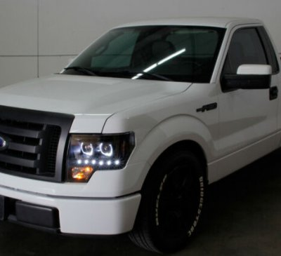 Ford F150 2009-2014 Black Halo Projector Headlights LED DRL