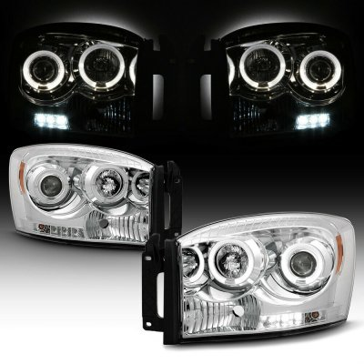 Dodge Ram 2006-2008 Clear Dual Halo Projector Headlights with LED