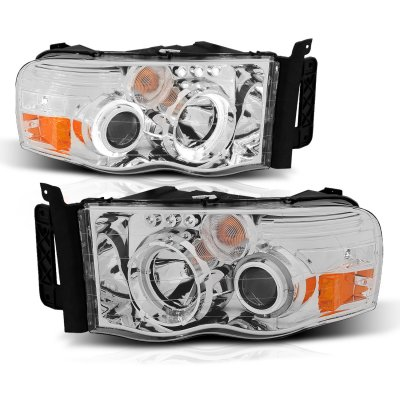 Dodge Ram 2002-2005 Chrome Projector Headlights with Halo and LED