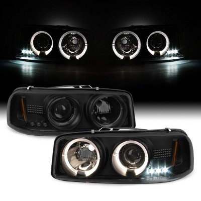GMC Sierra 1999-2006 Black Smoked Dual Halo Projector Headlights with LED