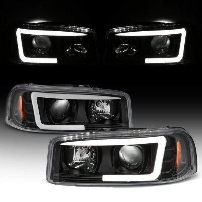 GMC Yukon 2000-2006 Black LED Tube DRL Projector Headlights
