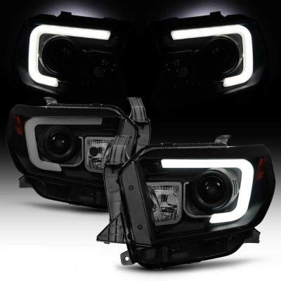 Toyota Tundra 2014-2017 Black Smoked LED DRL Projector Headlights