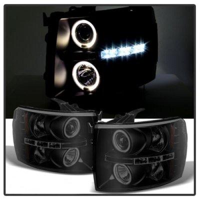 Chevy Silverado 2500HD 2007-2014 Black Smoked Halo Projector Headlights