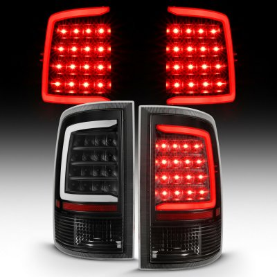 Dodge Ram 2009-2018 Black Smoked LED Tail Lights Tube
