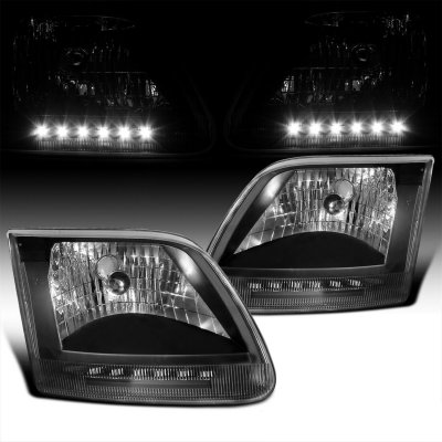 Ford F150 1997-2003 Black Crystal Headlights with LED DRL