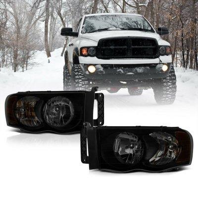 Dodge Ram 2500 2003-2005 Black Smoked Headlights