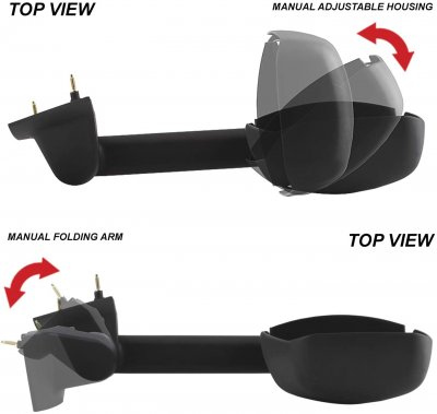 Chevy Express Van 2003-2021 Tow Mirrors Manual Adjust Extend Folding