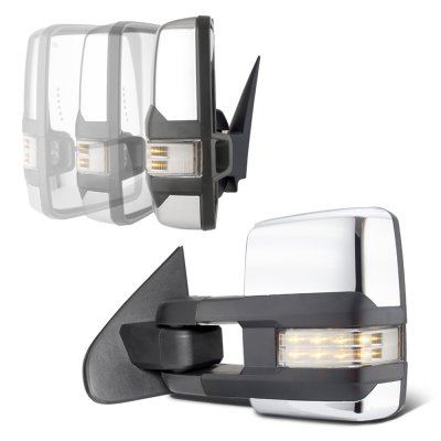 Chevy Silverado 2014-2018 Chrome Power Folding Towing Mirrors Clear LED Lights Heated