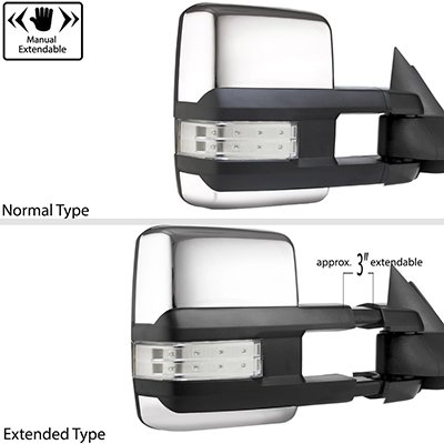 Dodge Ram 2500 2003-2009 Chrome Tow Mirrors Clear LED Lights Power Heated
