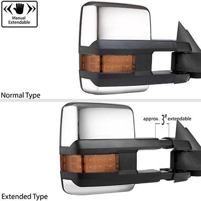 Dodge Ram 2500 2003-2009 Chrome Tow Mirrors LED Lights Power Heated
