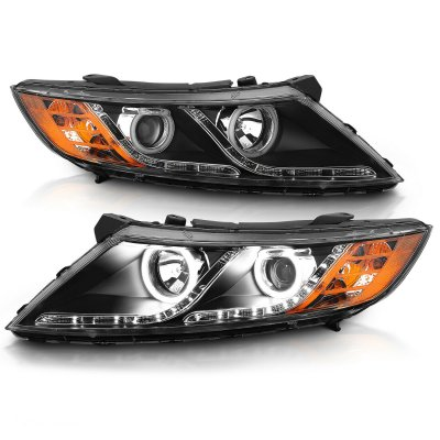 Kia Optima 2011-2015 Halogen Projector Headlights Black CCFL Halo LED DRL