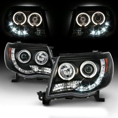 Toyota Tacoma 2005-2011 Black CCFL Halo Projector Headlights with LED