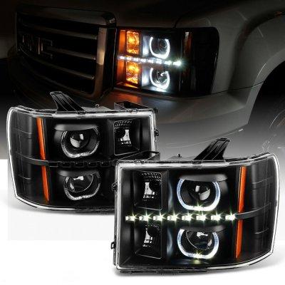 GMC Sierra 3500HD 2007-2014 Black Halo Projector Headlights LED