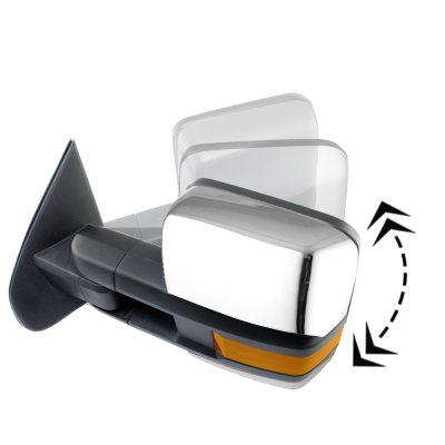 Chevy Silverado 2007-2013 Chrome Power Folding Tow Mirrors LED Lights