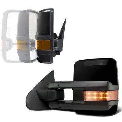 Chevy Silverado 2007-2013 Glossy Black Power Folding Tow Mirrors LED Lights