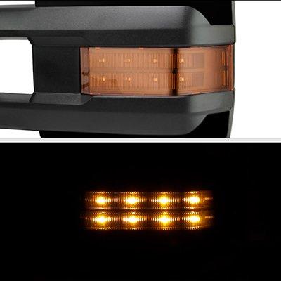 GMC Sierra 2007-2013 Glossy Black Power Folding Tow Mirrors LED Lights