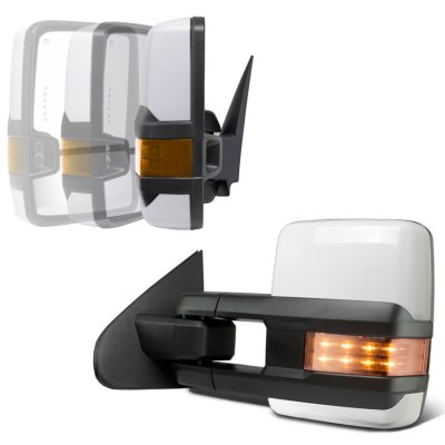 Chevy Silverado 2007-2013 White Power Folding Tow Mirrors LED Lights