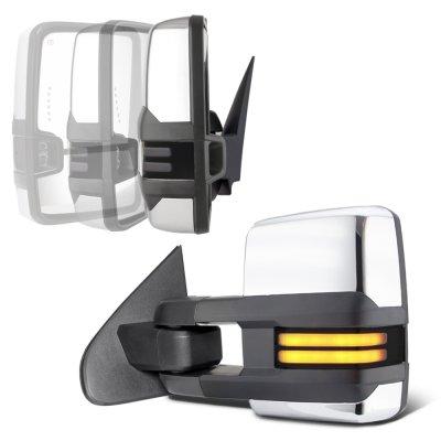 Chevy Silverado 2007-2013 Chrome Power Folding Tow Mirrors Smoked LED DRL